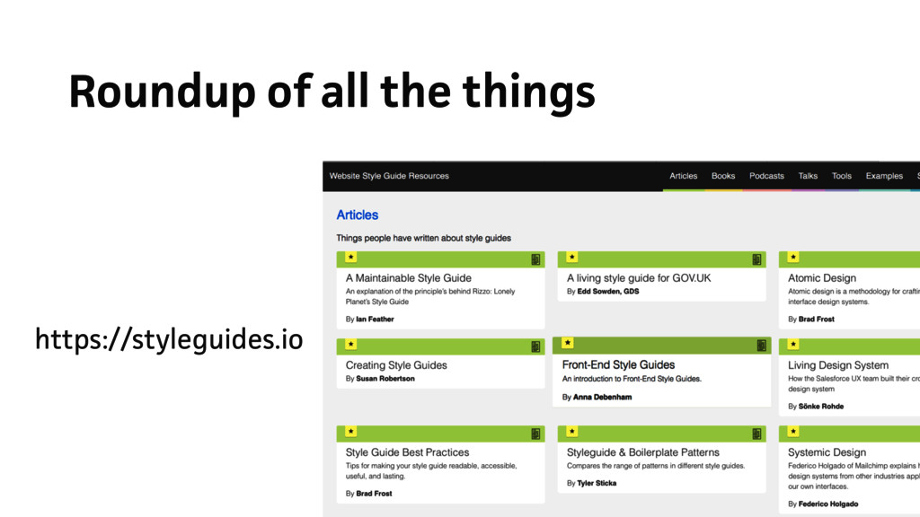 Roundup of all the things https://styleguides.io