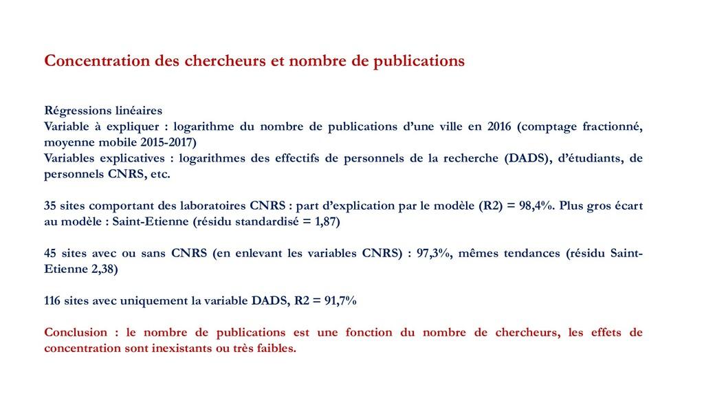 Concentration des chercheurs et nombre de publi...