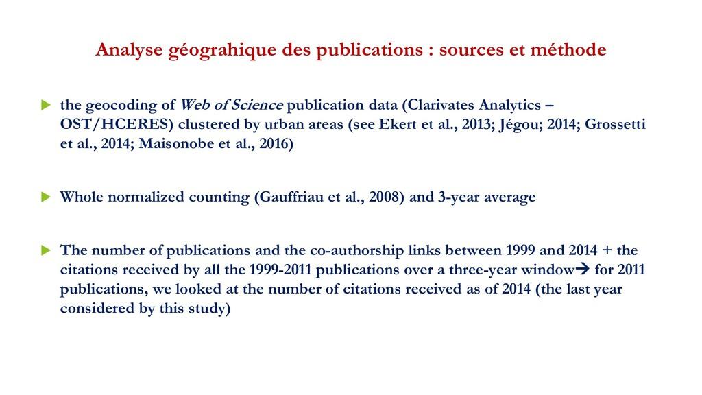 Analyse géograhique des publications : sources ...
