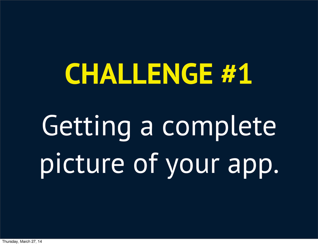 CHALLENGE #1 Getting a complete picture of your...