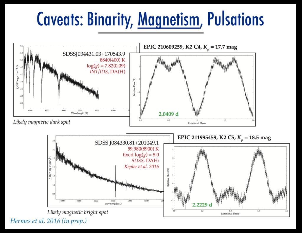Caveats: Binarity, Magnetism, Pulsations Hermes...