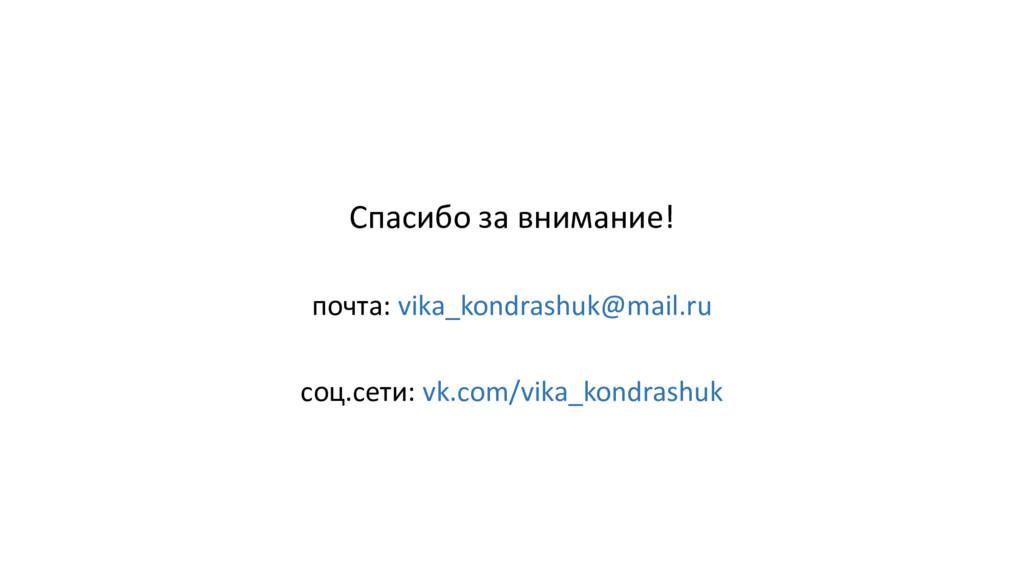 Спасибо за внимание! почта: vika_kondrashuk@mai...