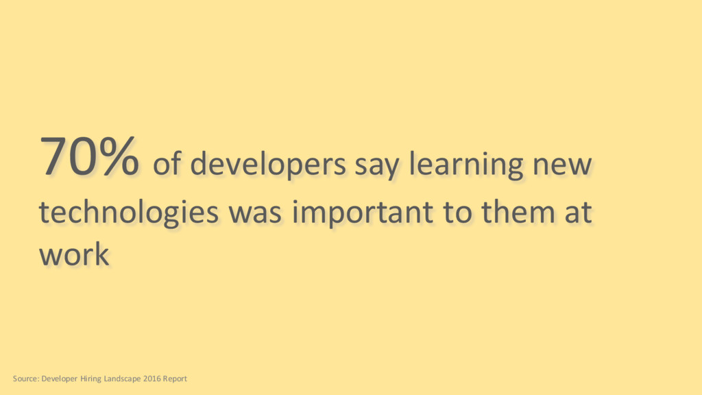 70% of developers say learning new technologies...