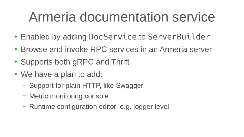 Armeria documentation service ● Enabled by addi...