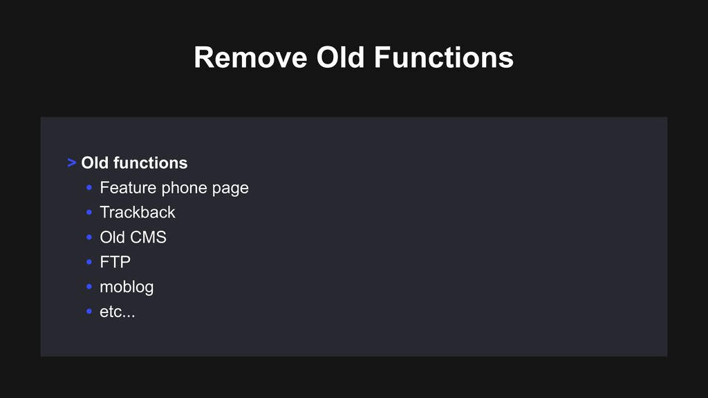 > Old functions • Feature phone page • Trackbac...