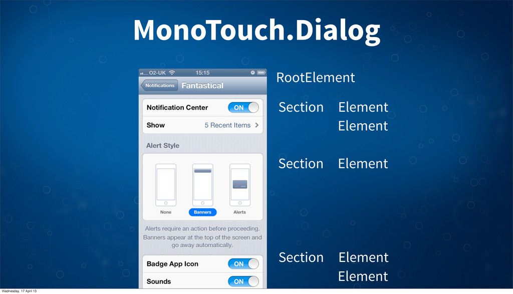 MonoTouch.Dialog Section Element RootElement El...