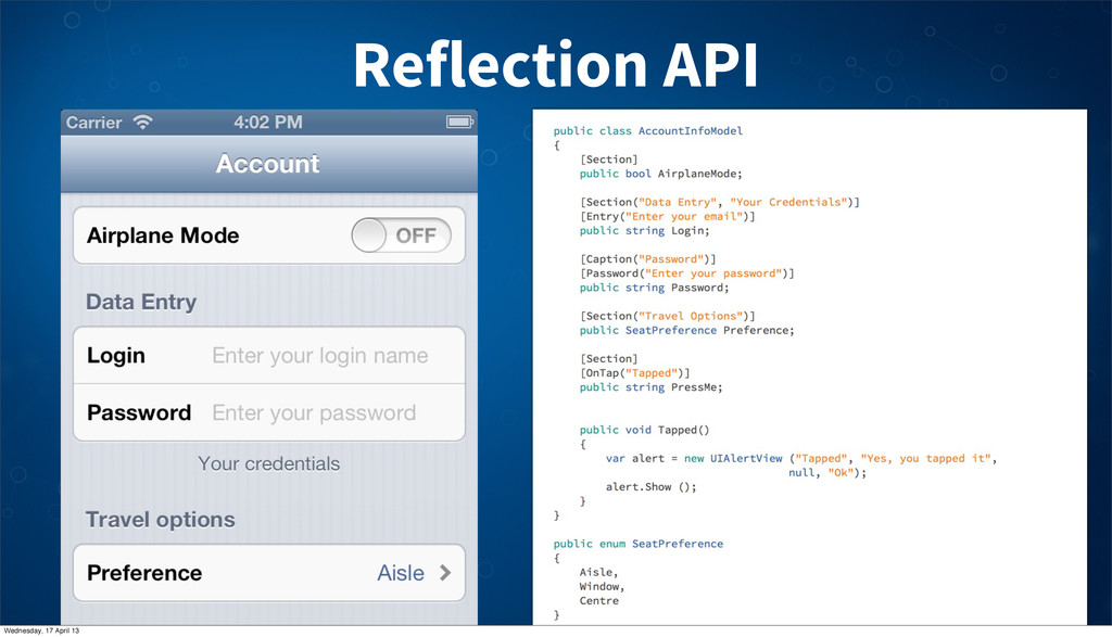 Reflection API Wednesday, 17 April 13