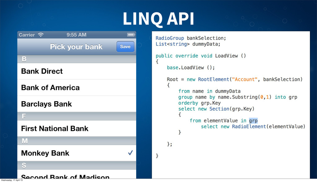 LINQ API Wednesday, 17 April 13