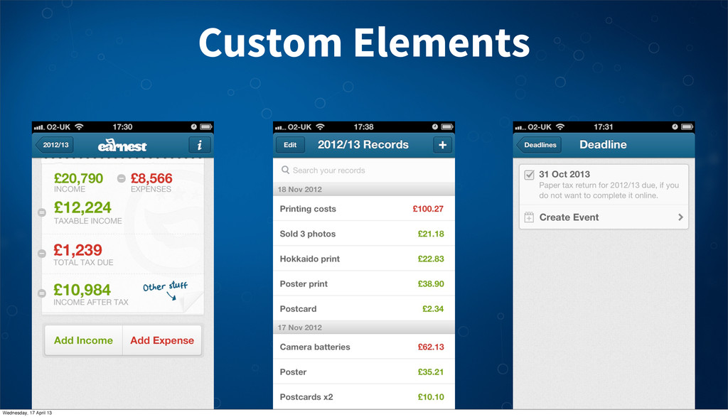 Custom Elements Wednesday, 17 April 13