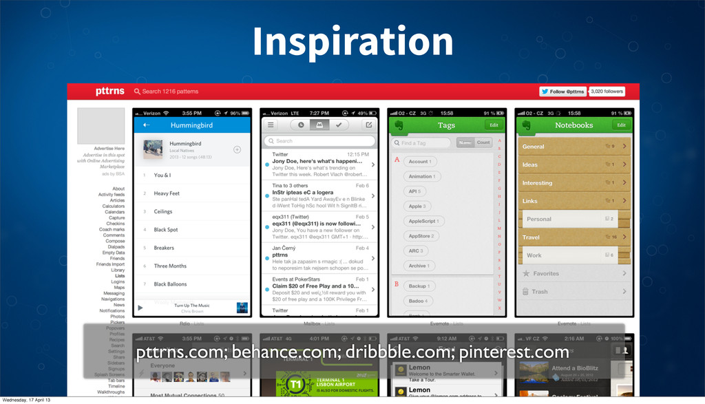 Inspiration pttrns.com; behance.com; dribbble.c...