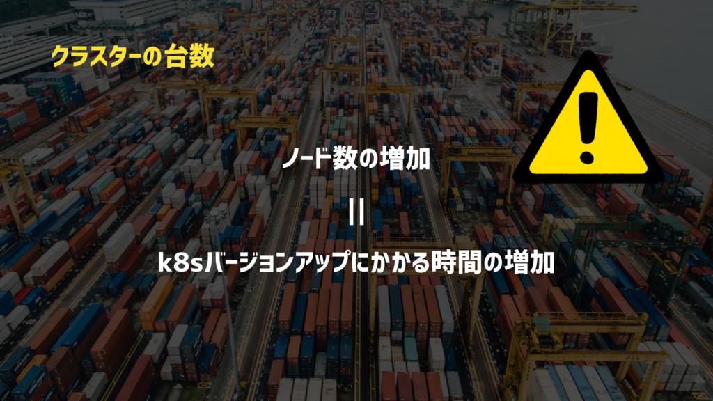 ノード数の増加    k8sバージョンアップにかかる時間の増加 クラスターの台数