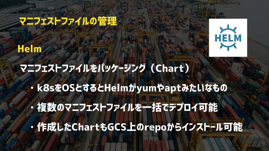 Helm マニフェストファイルをパッケージング(Chart)  ・k8sをOSとするとHelm...