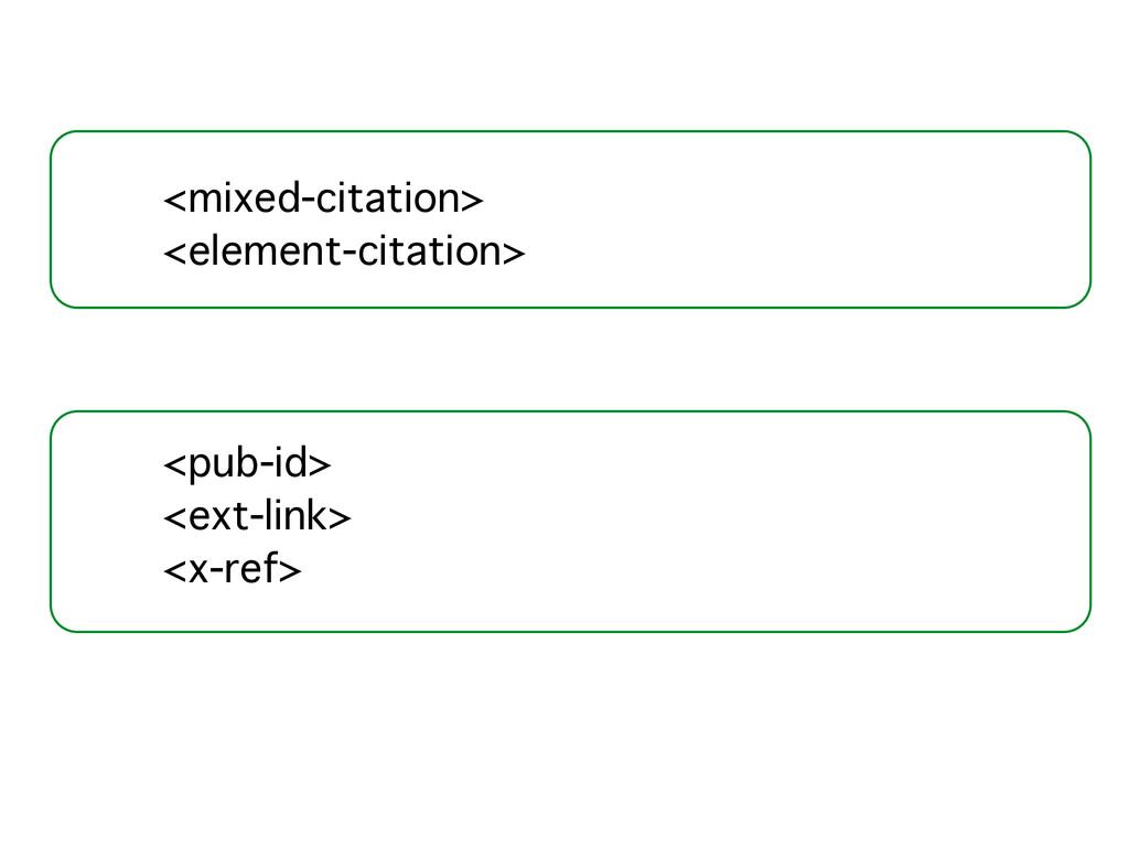 <mixed-citation>! <element-citation>! ! ! ! <pu...