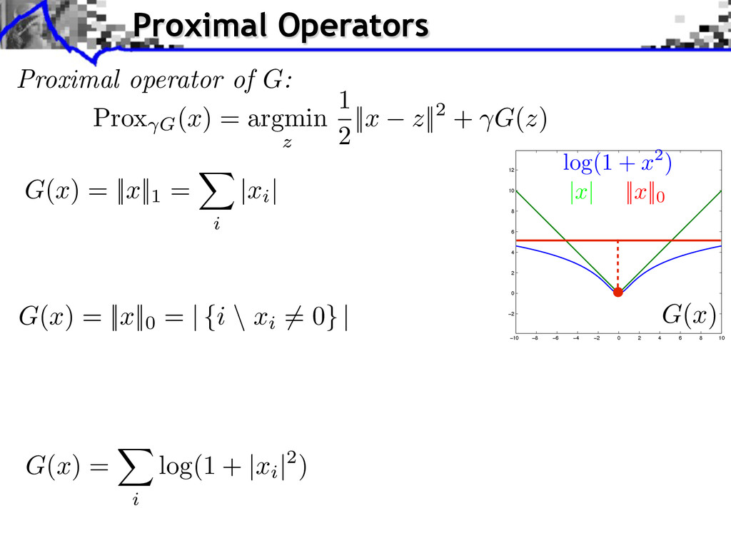 Proximal operator of G: Prox G (x) = argmin z 1...