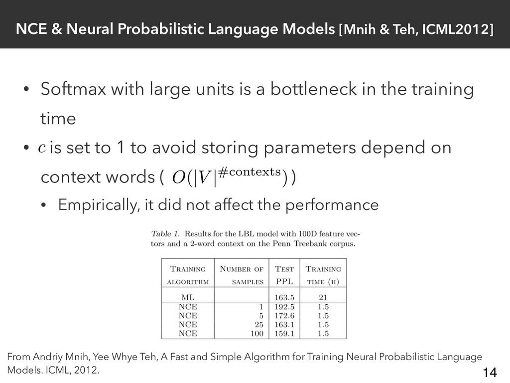 NCE & Neural Probabilistic Language Models [Mni...