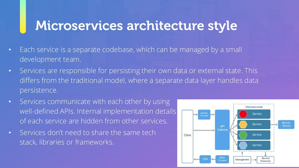 Microservices architecture style • Each service...