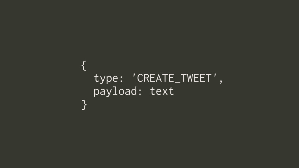 { type: 'CREATE_TWEET', payload: text }