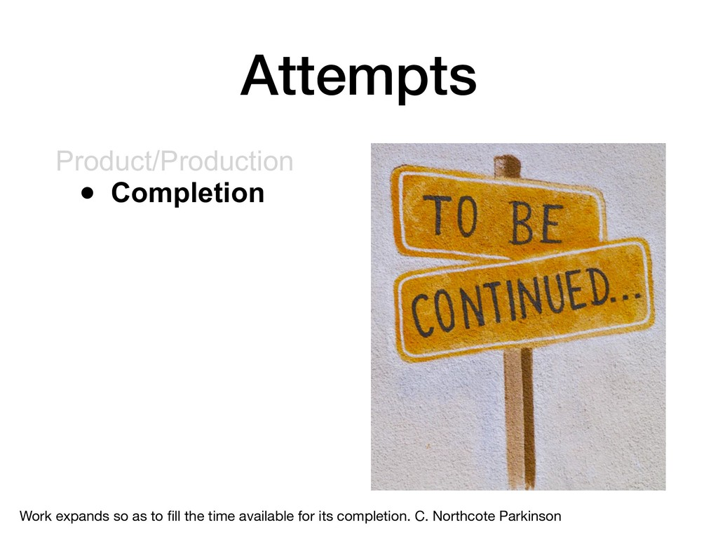 Attempts Product/Production • Completion Work e...