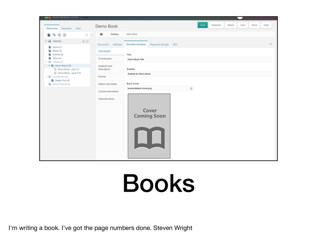 Books I'm writing a book. I've got the page num...