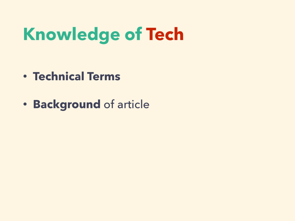 Knowledge of Tech • Technical Terms • Backgroun...