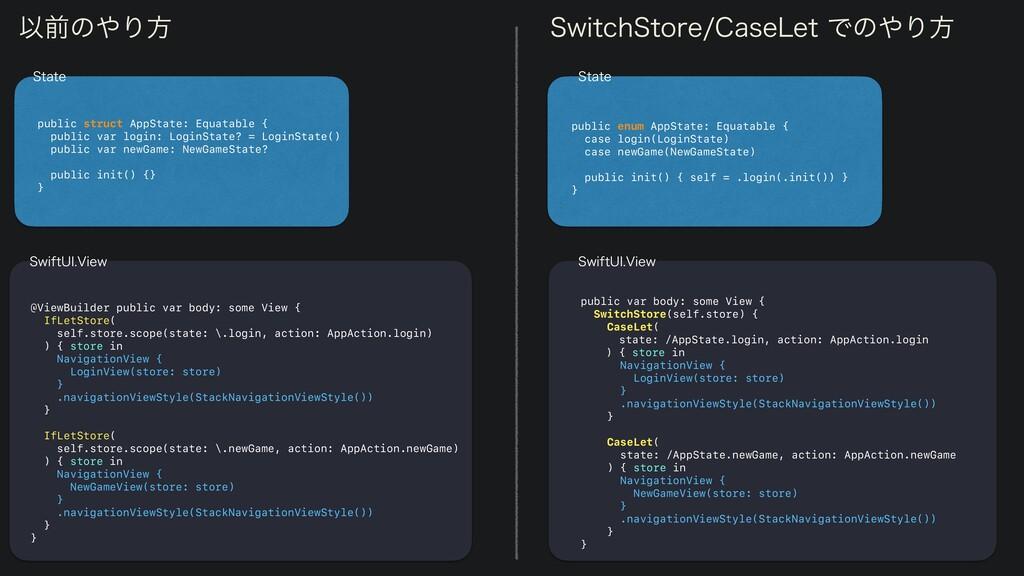 public enum AppState: Equatable {   case login(...