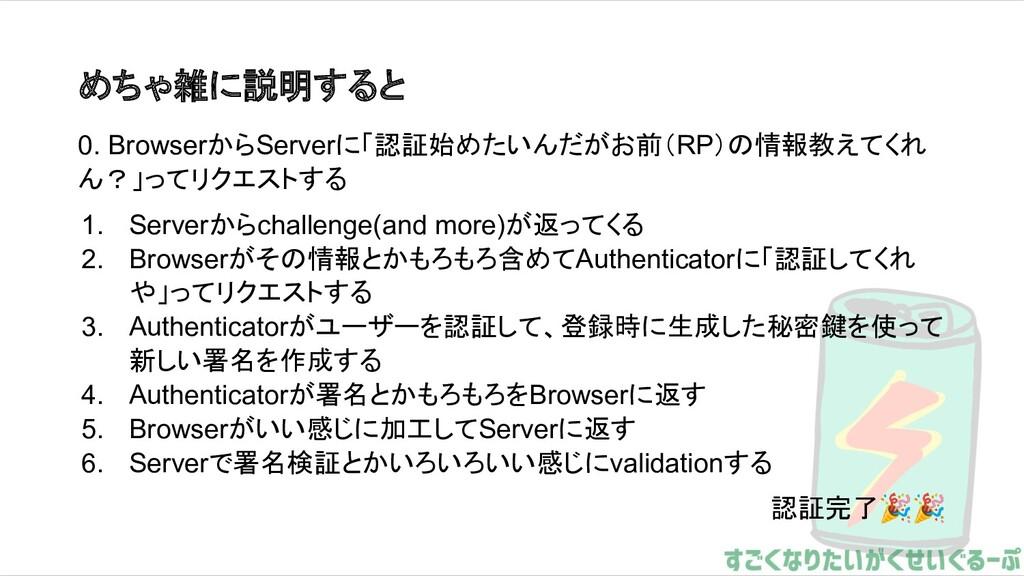 めちゃ雑に説明すると 0. BrowserからServerに「認証始めたいんだがお前(RP)の...