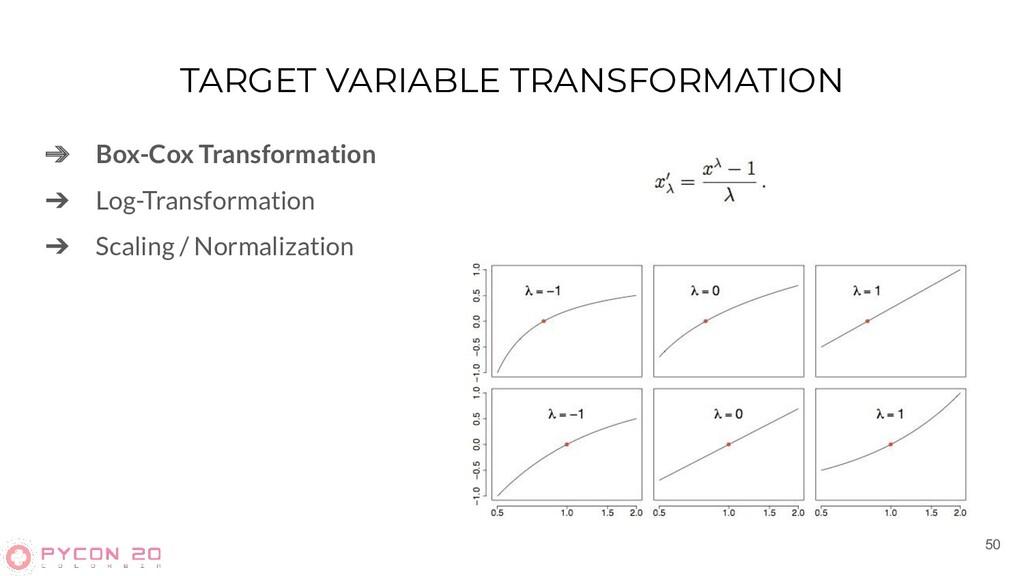 TARGET VARIABLE TRANSFORMATION ➔ Box-Cox Transf...