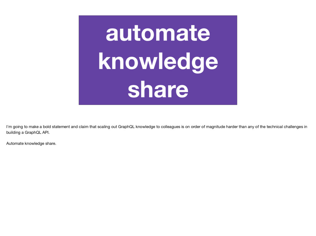 automate knowledge share I'm going to make a bo...