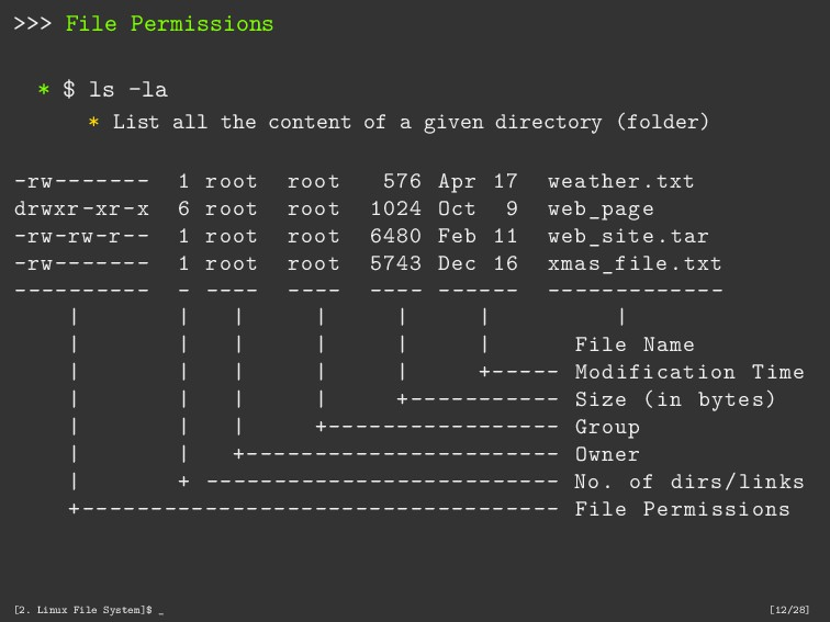 >>> File Permissions * $ ls -la * List all the ...