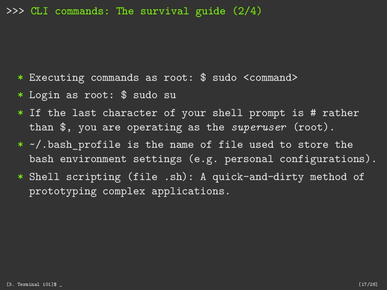 >>> CLI commands: The survival guide (2/4) * Ex...