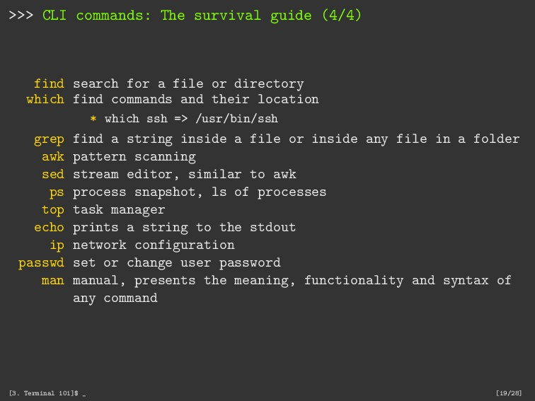 >>> CLI commands: The survival guide (4/4) find...