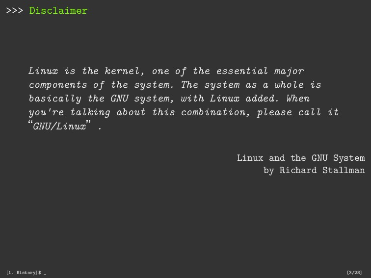 >>> Disclaimer Linux is the kernel, one of the ...