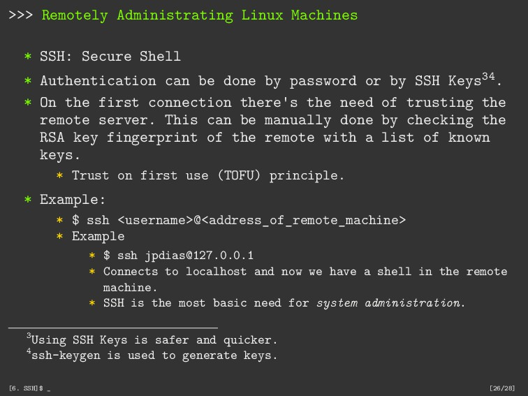 >>> Remotely Administrating Linux Machines * SS...