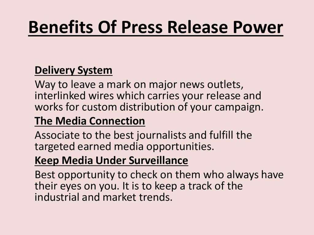 Benefits Of Press Release Power Delivery System...