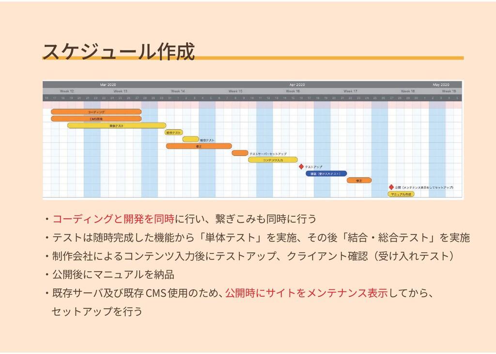 スケジュール作成 ・コーディングと開発を同時に行い、繋ぎこみも同時に行う ・テストは随時完成し...