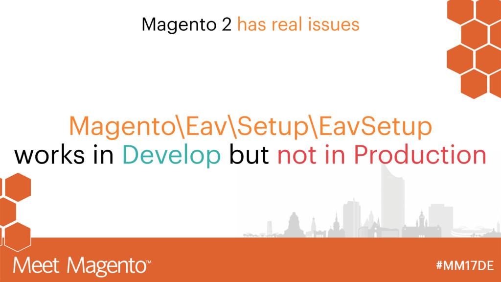 Magento 2 has real issues Magento\Eav\Setup\Eav...