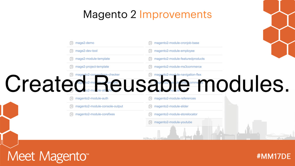 Magento 2 Improvements Created Reusable modules.