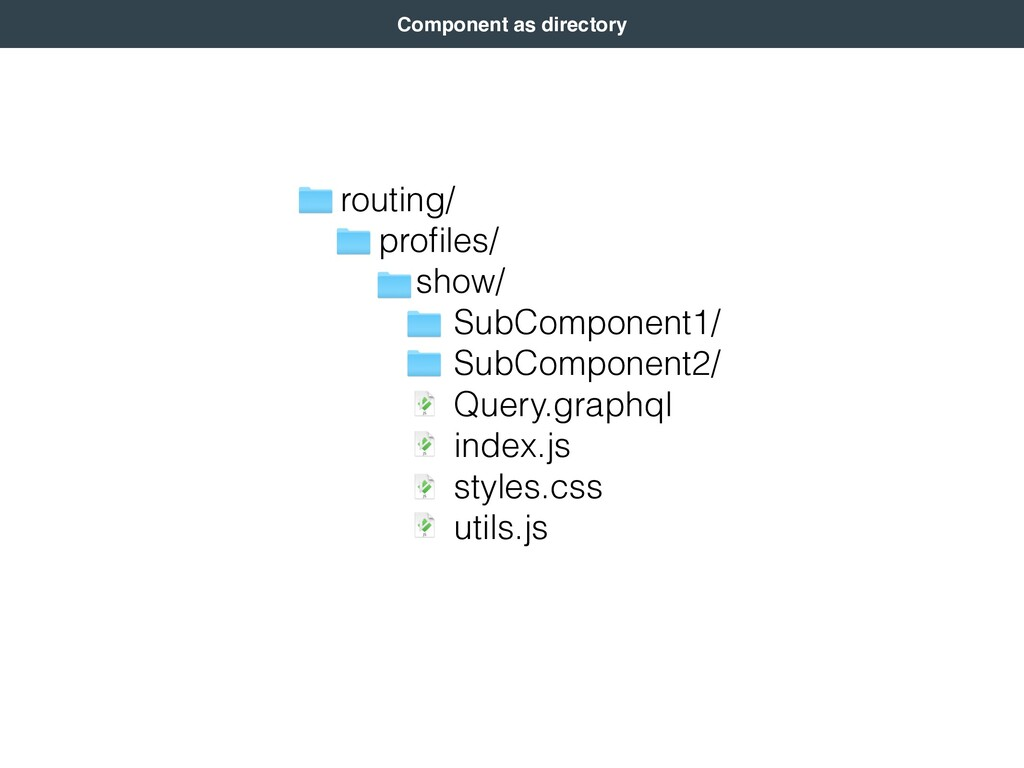 Component as directory routing/ profiles/ show/ ...