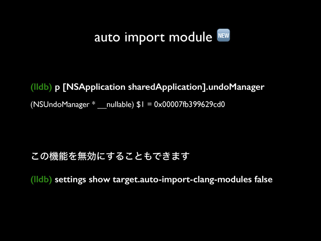 auto import module  (lldb) p [NSApplication sha...