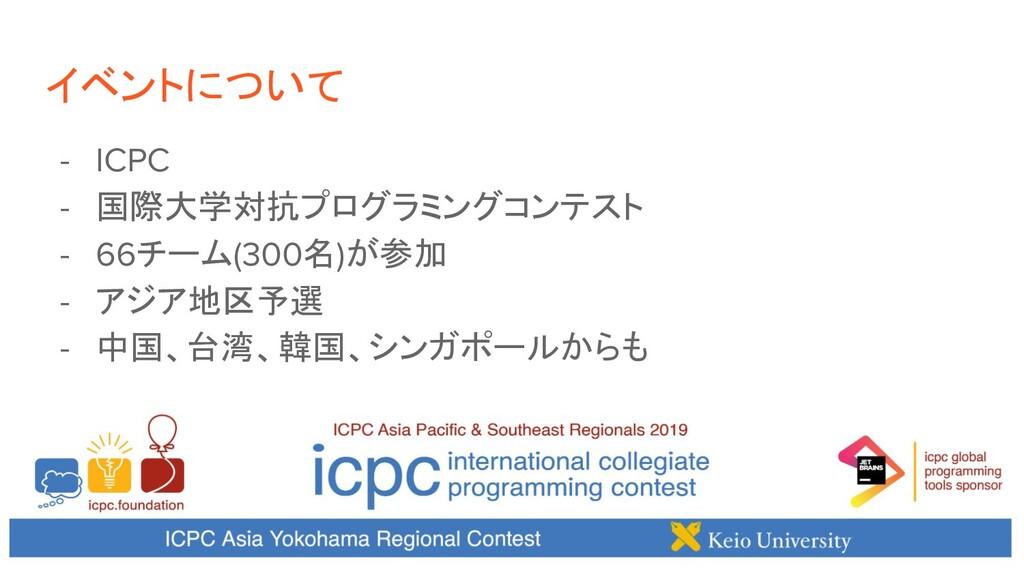 イベントについて - ICPC - 国際大学対抗プログラミングコンテスト - 66チーム(30...