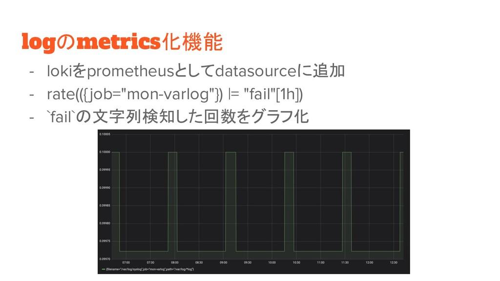 logのmetrics化機能 - lokiをprometheusとしてdatasourceに追...