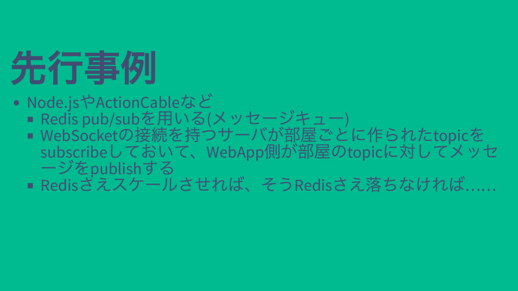 先行事例 先行事例 Node.js やActionCable など Redis pub/sub...