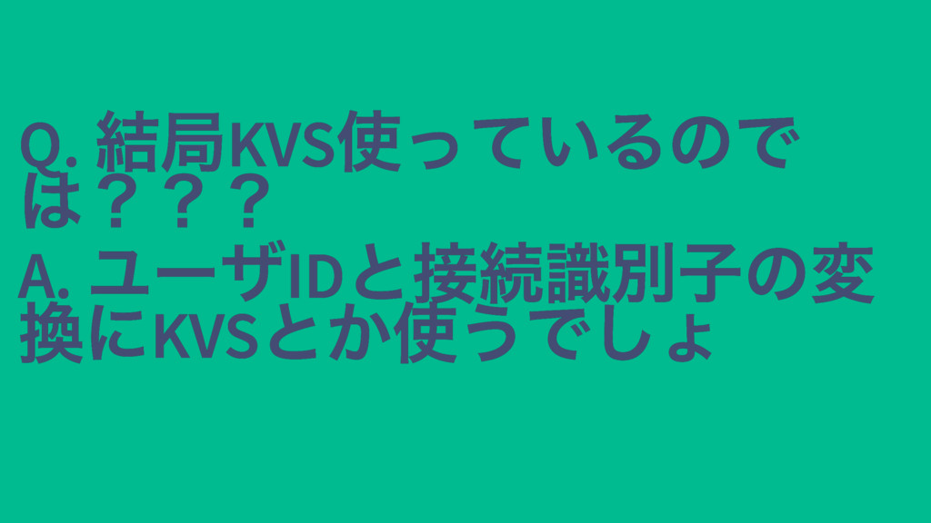 Q. 結局KVS 使っているので Q. 結局KVS 使っているので は??? は??? A. ...