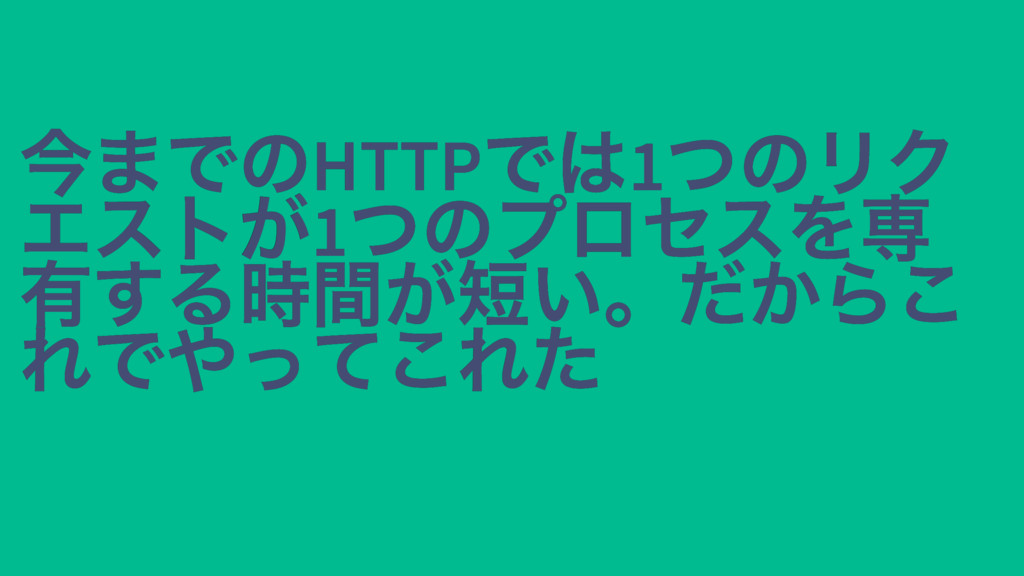 今までのHTTP では1 つのリク 今までのHTTP では1 つのリク エストが1 つのプロセ...