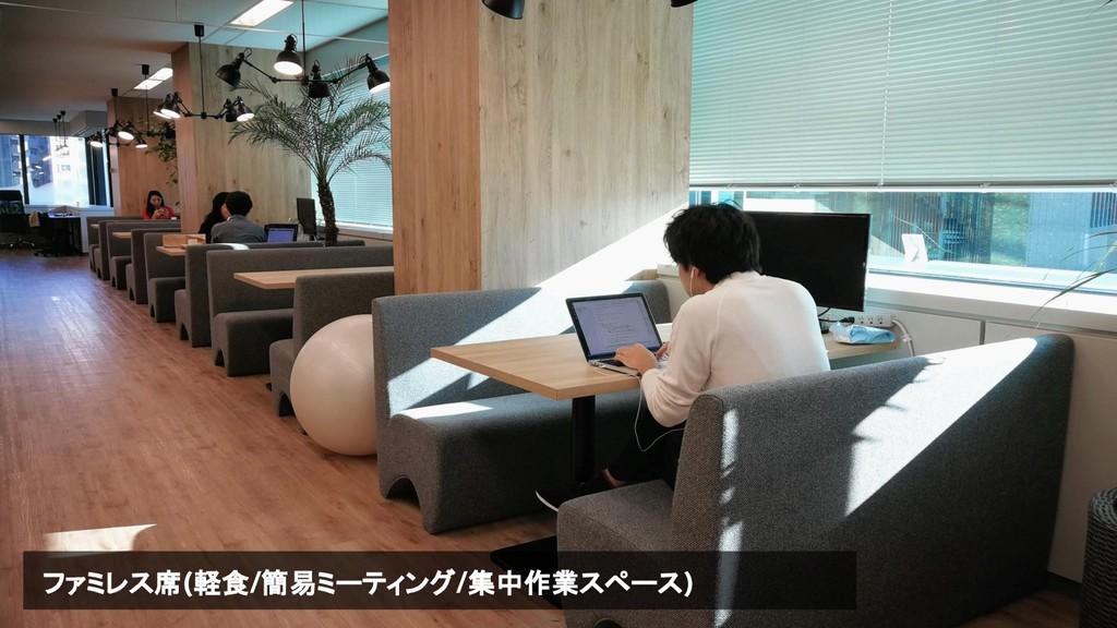 ファミレス席(軽食/簡易ミーティング/集中作業スペース)