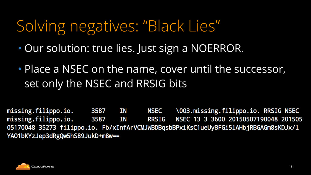 "Solving negatives: ""Black Lies"" • Our solution:..."