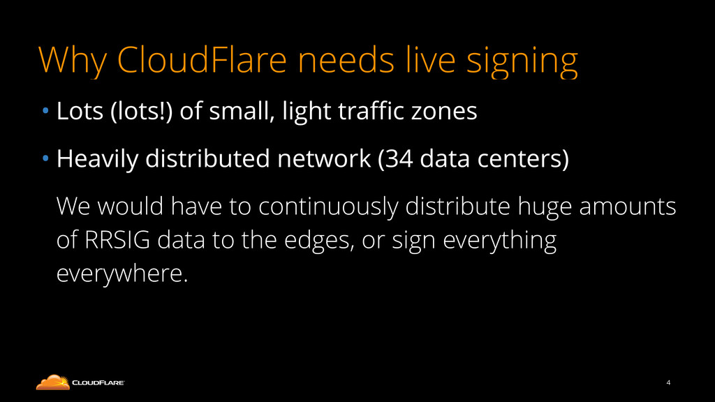 Why CloudFlare needs live signing • Lots (lots!...
