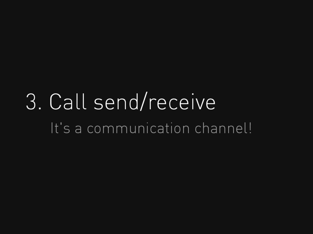 3. Call send/receive It's a communication chann...