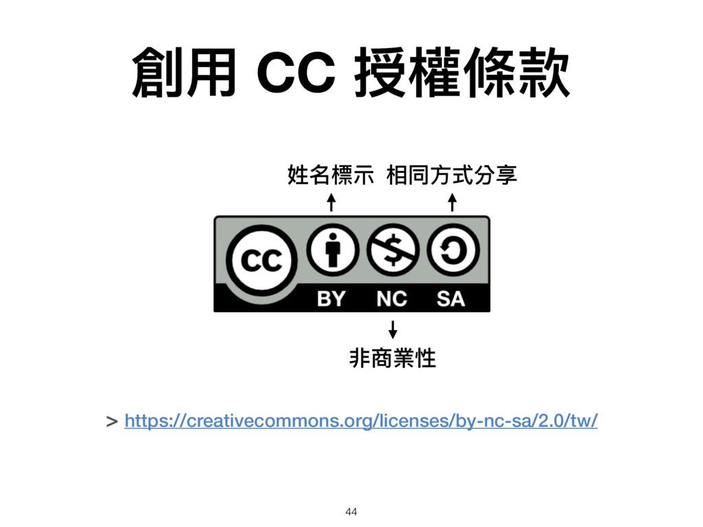 創⽤用 CC 授權條款 > https://creativecommons.org/licen...