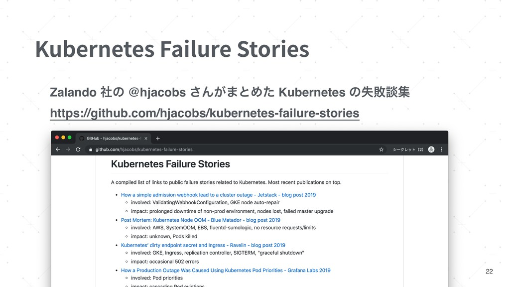 Kubernetes Failure Stories 22 Zalando ࣾͷ @hjaco...